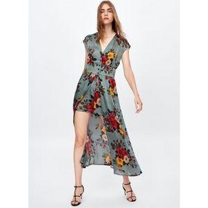 Zara basic Romper Maxi floral blue Sz M